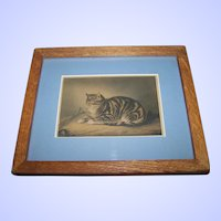 "Charming Vintage Kitty Cat Mouse  Art Print "" Puss Napping ""  George Baxter Artist"
