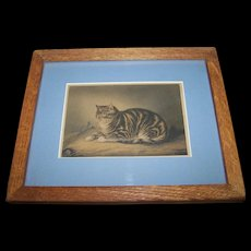 """Charming Vintage Kitty Cat Mouse  Art Print """" Puss Napping """"  George Baxter Artist"""