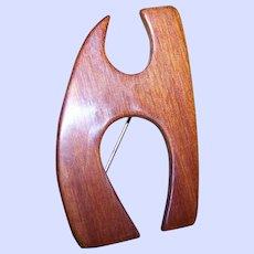 Vintage Wood Grain Style Bakelite Monogram Letter H  Brooch Pin Tested