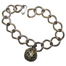 A Charming Old Decorative Ball Brass Linked Perfume Bracelet