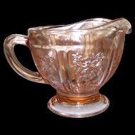 Vintage Federal Pink Sharon Cabbage Rose Depression Glass Creamer