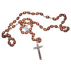 Vintage Religious Roman Catholic Wooden Wood Bead Rosary Prayer Beads Italy