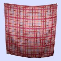Pretty Vintage Geometric Silk and Rayon Ladies Scarf Designer Signed Vera Orange Pink White