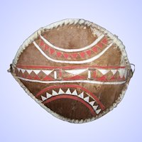 A Vintage Travel Souvenir Painted Hide African Zulu Shield