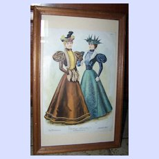 """Vintage Framed Fashion Print The Delineator """" Visiting Toilettes """""""