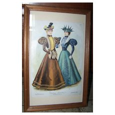 "Vintage Framed Fashion Print The Delineator "" Visiting Toilettes """