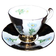 Pretty Vintage Blue Floral Adderley Tea Cup Saucer Set England