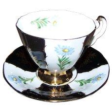 Pretty Vintage Blue Floral Adderley Tea Cup Saucer Set England