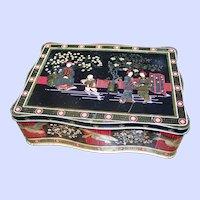 Vintage Collectible Tin Litho Asian/Oriental  Themed Storage Tin with Cranes