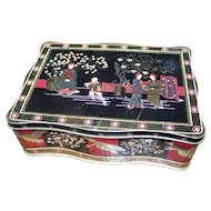 Vintage Collectible Tin Litho Asian/Oriental  Themed Storage Tin with Cranes