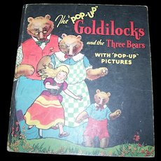 Collectible Vintage Goldilocks and the Three Bears Pop Up Book Hardcover 1934  Childrens Book - Red Tag Sale Item