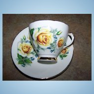 Yellow Rose Floral Motif Tea Cup & Saucer Royal Trent  England