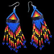 "Colorful Vintage Seed Glass Bead First Nations ""Native Bling"" Beaded Earrings"
