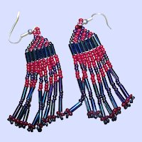 """Pretty Vintage Seed Glass Bead First Nations """"Native Bling"""" Beaded Earrings"""