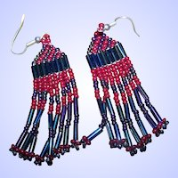 "Pretty Vintage Seed Glass Bead First Nations ""Native Bling"" Beaded Earrings"