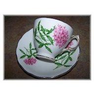 Colclough Pink Floral Motif Tea Cup & Saucer England