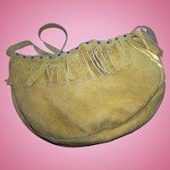 Native Western Style Suede  Beaded Shoulder Bag Fringed Gently Used