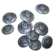 Lot of 10   Vintage  Metal Laurel Crown Military Regiment Buttons