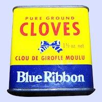 Vintage  Litho Blue Ribbon Empty  Advertising Tin Brooke Bond Canada Limited