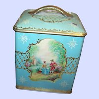 Pretty Vintage Tin Litho Canister Tin Romantic Couple Ladies  Scenic  Lovely For Display