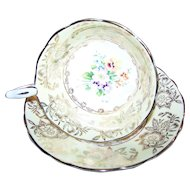 Royal Stafford Floral Motif Heavy Gold Hand Decorated Flower Pattern Tea Cup Saucer Set