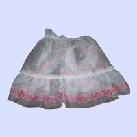 Mid-Century Pretty Ladies Rose Floral and Pink Circle Pattern Sheer Chiffon Nylon Apron