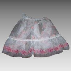 Mid-Century Pretty Ladies Rose Floral and Pink Circle Pattern Sheer Chiffon Nylon Apron