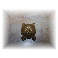 What A Pretty Vintage Brass Kitty Cat Face Pin / Brooch