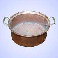 Vintage Solid Copper  Planter Pot With Brass Handles Made In Turkey
