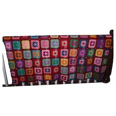 Bright Cheerful Hand Crafted Vintage Crochet Blanket Granny Square Style
