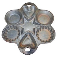 A Vintage Cast Iron Cornbread Pan Heart Star Cookie Baking Muffin Mold