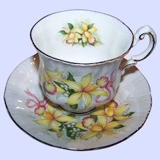 Paragon Tea Cup & Saucer Wedding Bouquets Orchid Flower Pattern