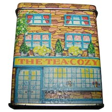 Small Collectible The Tea Cozy Cottage Tin  1984 LILLIAN VERNON  Tin Litho