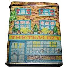 Small Collectible The Tea Cozy Cottage Tin  1984 LILLIAN VERNON  Tin Litho