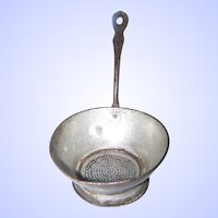 Vintage  Primitive Metal Wear  Tin Strainer with Handle Great For Display