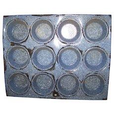 Primitive Hoosier Blue Graniteware 12 Muffin Baking Pan