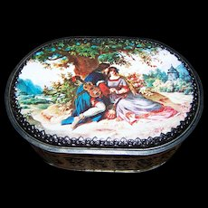 Vintage Decorative Tin Litho Romantic Scene Oval Container