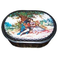 Vintage Decorative Tin Litho Romantic Scene Oval Container