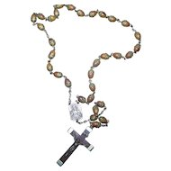 Lovely Vintage Wood Crucifix Rosary Prayer Beads Stamped FRANCE