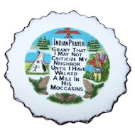 Collectible Wall Art Ceramic  Indian Prayer Plate Made in Japan