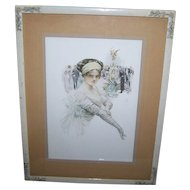 "Lovey Decorative Wood Frame with Applied Flowers Featuring   ""The Debutante""  1910 Framed Print Harrison Fisher"