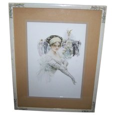 """Lovey Decorative Wood Frame with Applied Flowers Featuring   """"The Debutante""""  1910 Framed Print Harrison Fisher"""