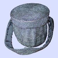 Stunning Vintage Glass Seed Bead Drum Style Ladies Fashion Evening Bag Purse