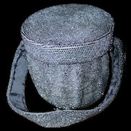 Stunning Vintage Glass Seed Bead Drum Style Ladies Fashion Evening Bag Purse