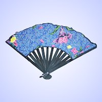Pretty Delicate Vintage Fan Cloth and Wood Flower Floral Pattern