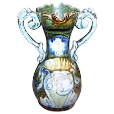A Lovely Vintage Green   MAJOLICA Style  Two Handles Vase Floral Transferware 824