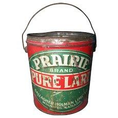 A Great Old Farmhouse  Canadian Advertising Tin Pail PRAIRIE Brand Pure Lard Gallagher Holman