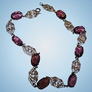 Filigree Metalware Purple Faceted Glass Stone Necklace OH SO Pretty