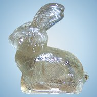 Pressed Glass Figural  Bunny Rabbit  Hare Vintage Candy Container