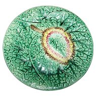 Fine Victorian Era Decorative Majolica Begonia Leaf Plate 8 1/2 Inches